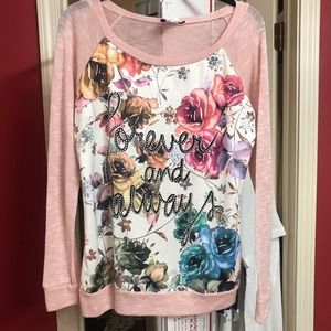 Forever and Always long sleeve top, size XLarge